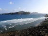 Utsikt från öde ön Petit Nevis